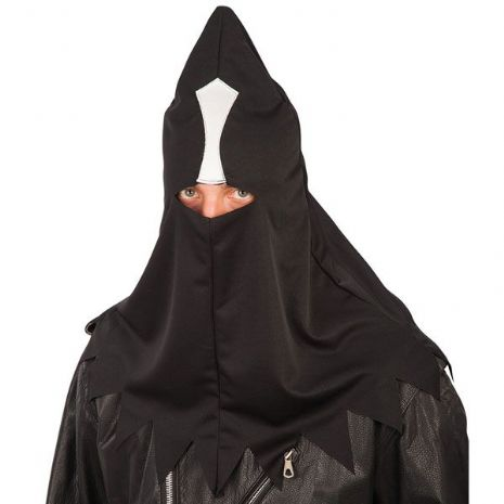Executioner Hood Black & White Halloween Mask Medieval Fancy Dress Accessory